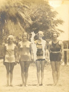 Yale Hawaii Swimming Meet, Honolulu Harbor July 1921. OCC 400 yd women's relay team won 4:45:6 Lillian Bomer, Estelle Cassidy, Ruth Scudder Helen Moses.