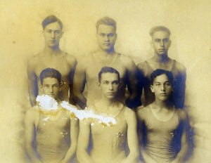 First Senior Relay team of the OCC to win an open event, November 1919, Honolulu Harbor. Time: 6:15 seconds. Back: AG Harris, WW Harris Jr, A Makinney, H Harvey. Front: F. Turner, AE Minvielle. Time: 6:15 seconds. Honolulu Harbor
