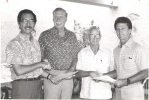 The ODKF merger documents were signed by by the presidents of the two foundations, Tom Lalakea and Rab Guild, and two secretaries, J. Ward Russell and Peter Balding.