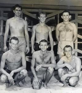 Top: Elwood Van Giesen, Jack Ackerman., Bob Fischer. Kneeling: Bob Rotz, Gil Carr, Tommy Thomas
