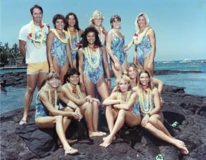 1984 OCC Na Wahine O Ke Kai Front: Sandra Stanley, Kaiulu Downing, Traci Phillips, Kisi Haine, Tiare Finney. Back: Coach Tom Conner, Mary Franco, Lesline Conner, Jeanne Jenkins, Muffer Scully, Mary Mason, Katy Bourne.