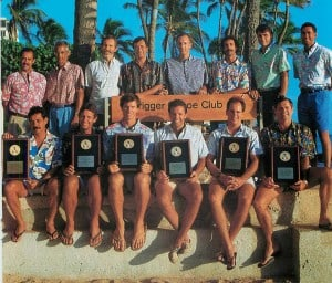 1991-1994 National Volleyball Champions Masters 35 and 40 Front: Charlie Jenkins, Tom Madison, Jon Andersen, Ralph Smith, Scott Rigg, Randy Shaw. Back: Jim Bukes, Chris Crabb, Ilmar Tarikas, Wayne Kekina, John Zabriskie, Mike Cote, Jon Stanley, Coach Kimo Brown. Not pictured: Dennis Berg Jay Anderson, Buster Chapman.