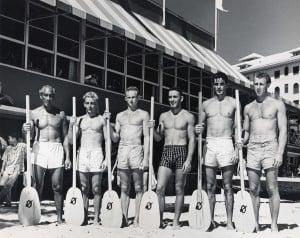 1943 Macfarlane Regatta Senior Men Duke Kahanamoku, Thad Ekstrand, Jim Fernie, Carlos Rivas, Tom Arnott, Tommy O'Brien