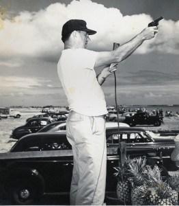 Bob Fischer starts a canoe race