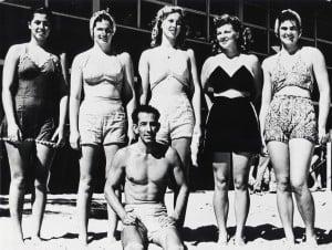 1945 Outrigger Canoe Club Senior Women Roselle Robinson, Ann Monahan, Lois Gilman, Jean Taylor, Peggy Monahan, Tommy Kiakona