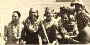 1976 Outrigger Canoe Club Senior Women Connie Maguire, Anne Nicol, Eve Black, Moira Scully, Michele St. John, Heidi Hemmings, steersman Mike Holmes