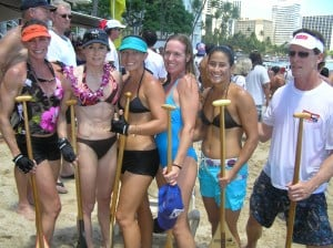 2005 Outrigger Canoe Club Senior Women Mary Smolenski, Traci Phillips, Jennifer Thayer, Megan Clark, Malia Kamisugi, Steersman Walter Guild