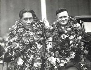 Duke Kahanamoku and Dad Center 1920 Olympic Games