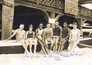 1920 Hawaii team to Olympic tryouts: Lundy Lunger, Helen Moses, Duke Kahanamoku, Dad Center, Warren Kealoha, Pua Kealoha, Bill Harris