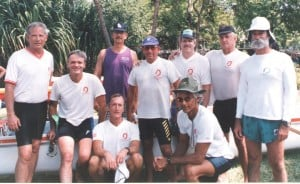 1992 OCC Golden Masters Front: Tom Merrill, Chris Crabb. Standing: Kawika Grant, Mike Town, Norm Ho, Norm Dunmire, Kent Giles, Tay Perry, Bruce Ames.
