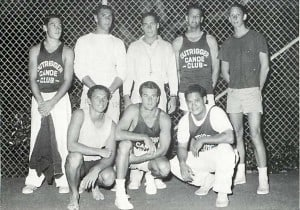 During the late 1950s OCC formed a park volleyball team that beat every park team in the city for three consecutive summers. They were so strong that they were asked to retire and give someone else a chance. Front: Butch Hemmings, Peter Balding Jr., Skippy Kealoha. Back: Bill Danford, Gil Halpern, Coach Ron Sorrell, Doug Carr, Paul McLaughlin.