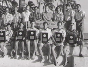 These players won eight USVBA championships in the 35 and 40 divisions in four years. Front: Charlie Jenkins, xx, Jon Andersen, xx, Scott Rigg, Randy Shaw. Standing: xx, Chris Crabb, Ilmar Tarikas, xx, xx, Mike Cote,