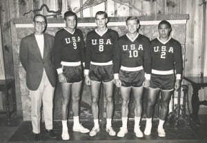 1968 OCC players on U.S. Olympic Team: Coach John Lowell, Jon Stanley, John Alstrom, Tom Haine and Peter Velasco.